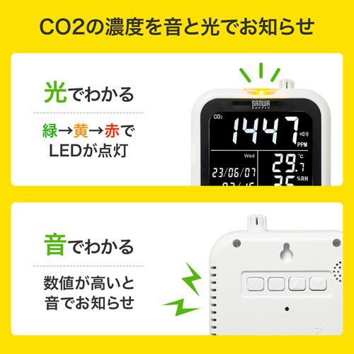 CO2の濃度状態が高くなると、音と光でお知らせ
