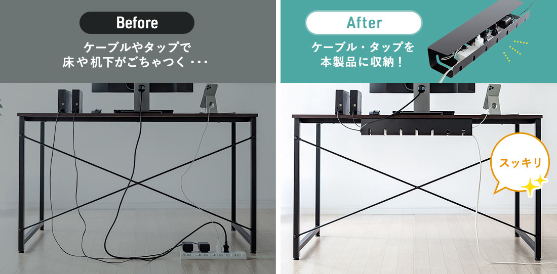 Before After ケーブル・タップを本製品に収納