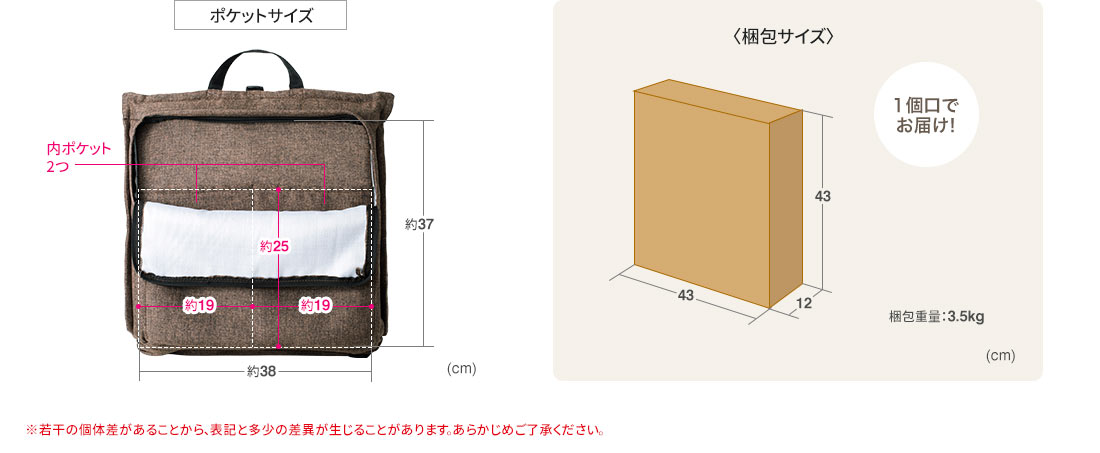 ポケットサイズ 1個口でお届け 梱包重量3.5kg