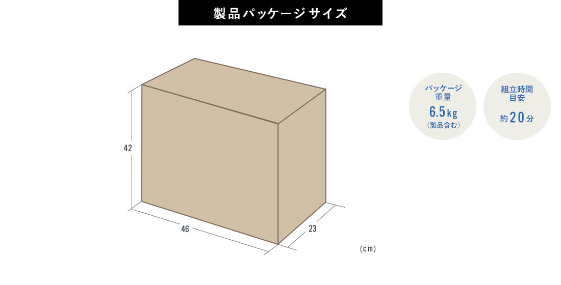 製品パッケージサイズ パッケージ重量6.6kg 組立時間目安20分