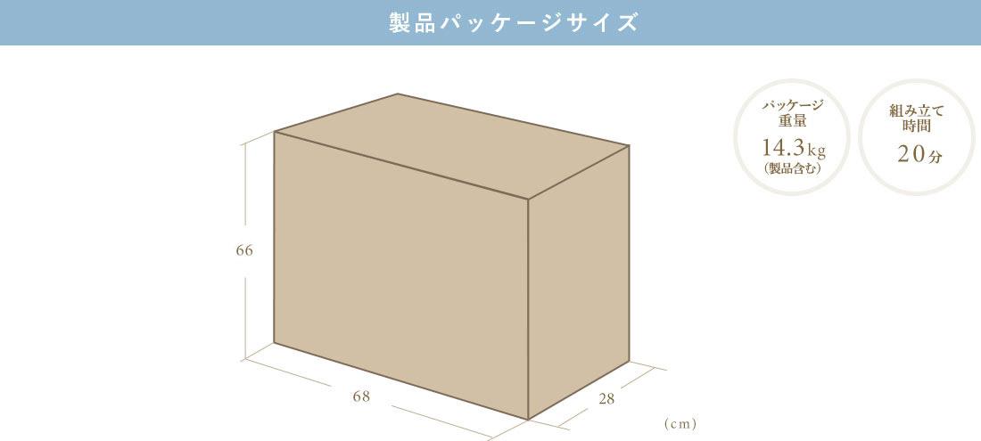 製品パッケージサイズ パッケージ重量14.3kg 組み立て時間20分