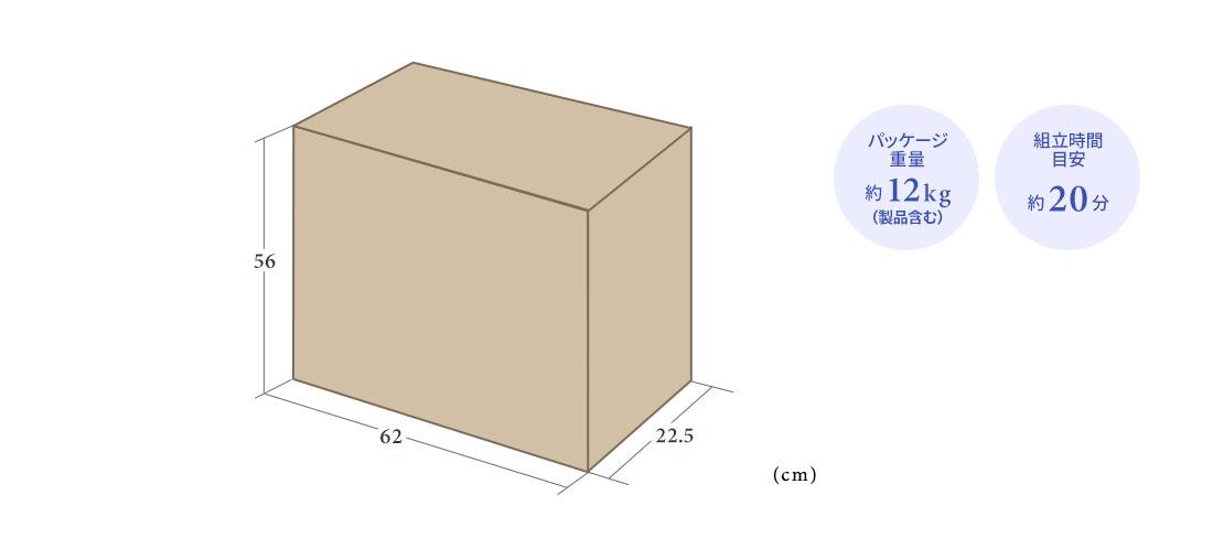 パッケージ重量 約12kg 組立て目安約20分
