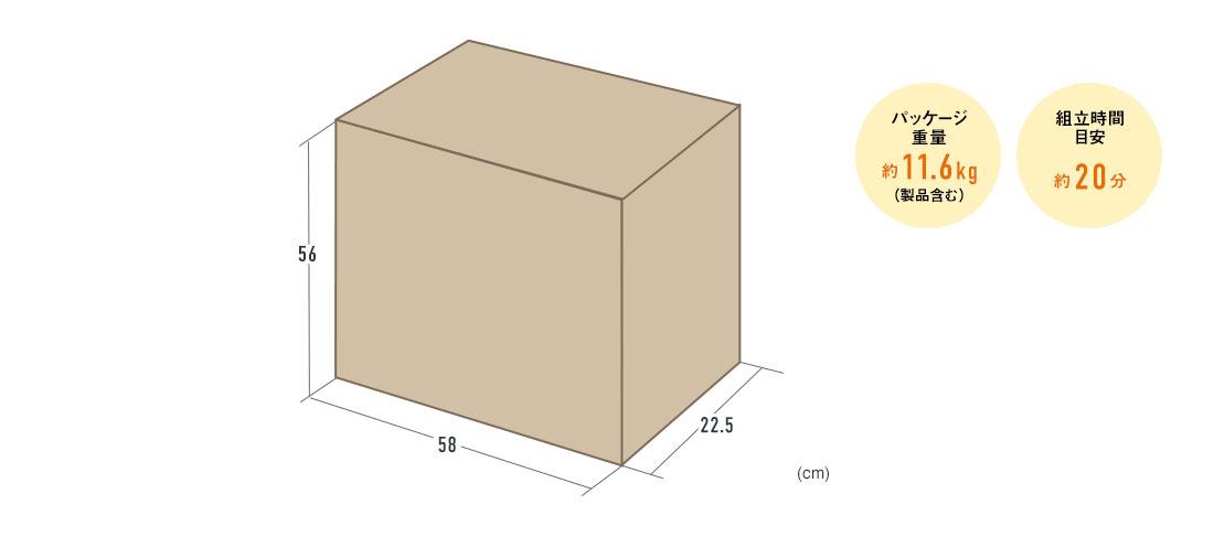 パッケージ重量 約11.6kg 組立て目安約20分