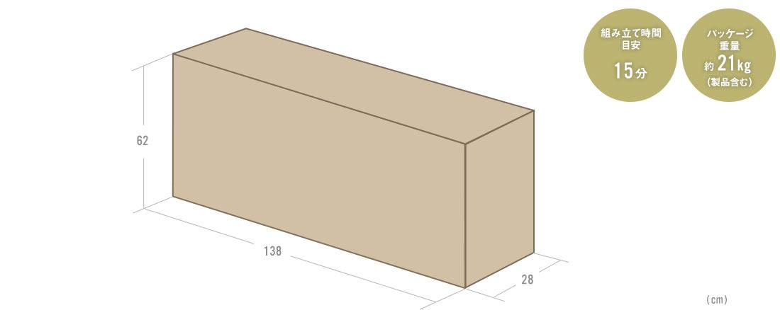 組み立て時間目安15分 パッケージ重量約21kg