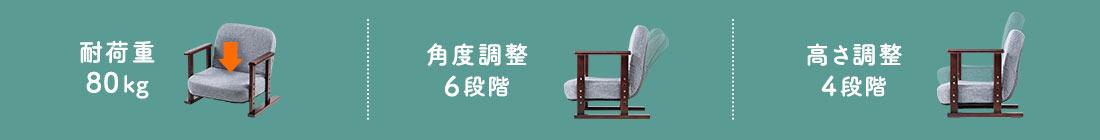 高座椅子 80kg 角度調整6段階 高さ調整4段階