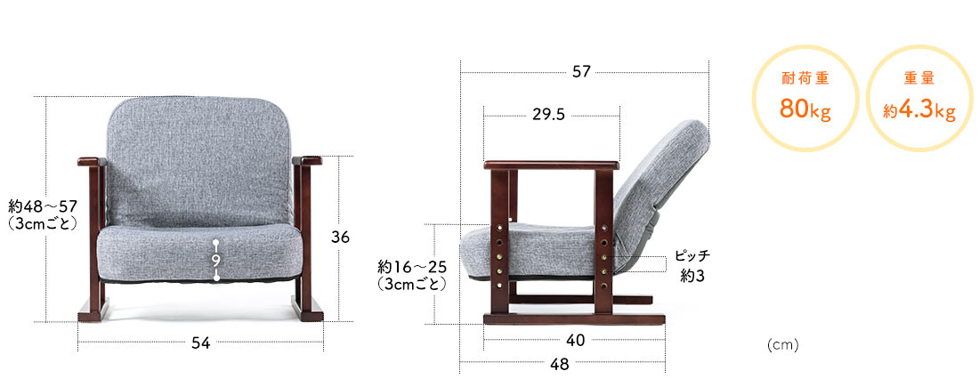 耐荷重80kg 重量約4.3kg