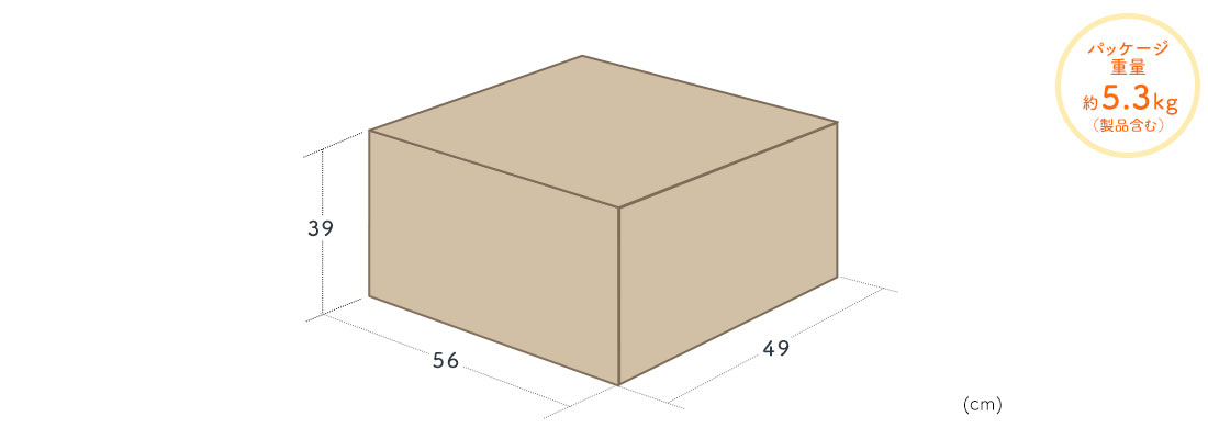 パッケージ重量約5.3kg(製品含む)