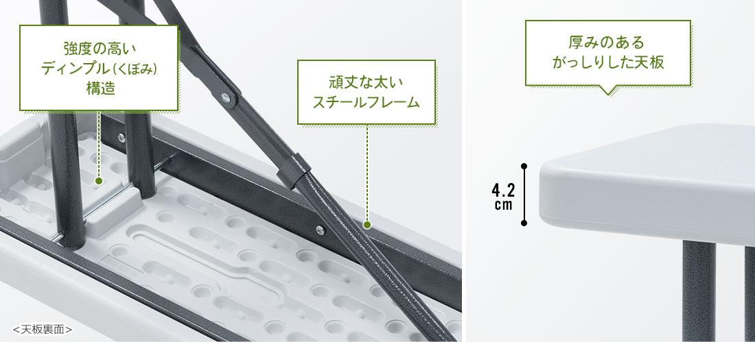 強度の高いディンプル(くぼみ)構造、頑丈な太いスチールフレーム、厚みのあるがっしりした天板