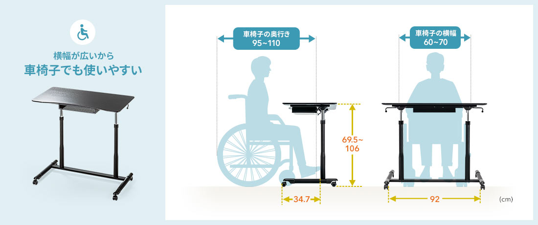横幅が広いから車椅子でも使いやすい