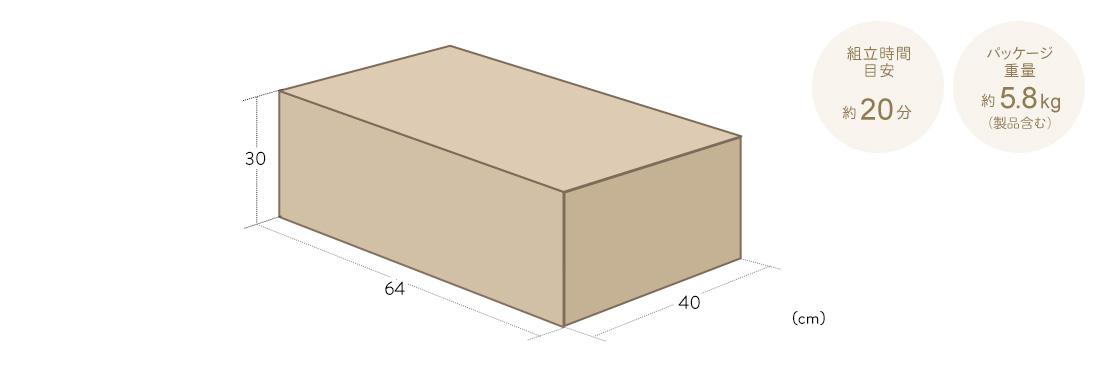 組立時間目安約20分。パッケージ重量約5.8kg(製品含む)