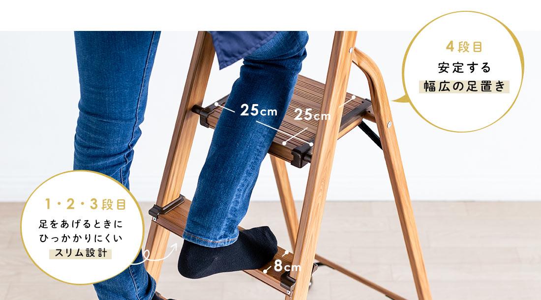 4段目は安定する幅広の足置き、1・2・3段目は足をあげるときにひっかかりにくいスリム設計