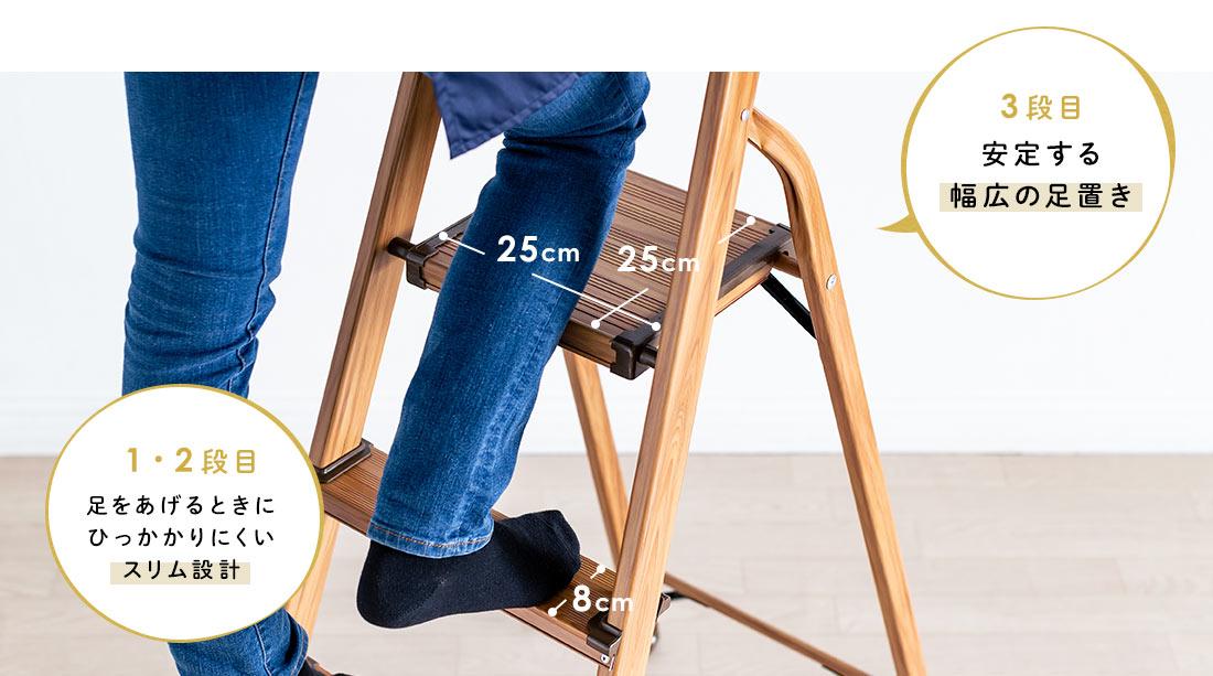 3段目は安定する幅広の足置き、1・2段目は足をあげるときにひっかかりにくいスリム設計