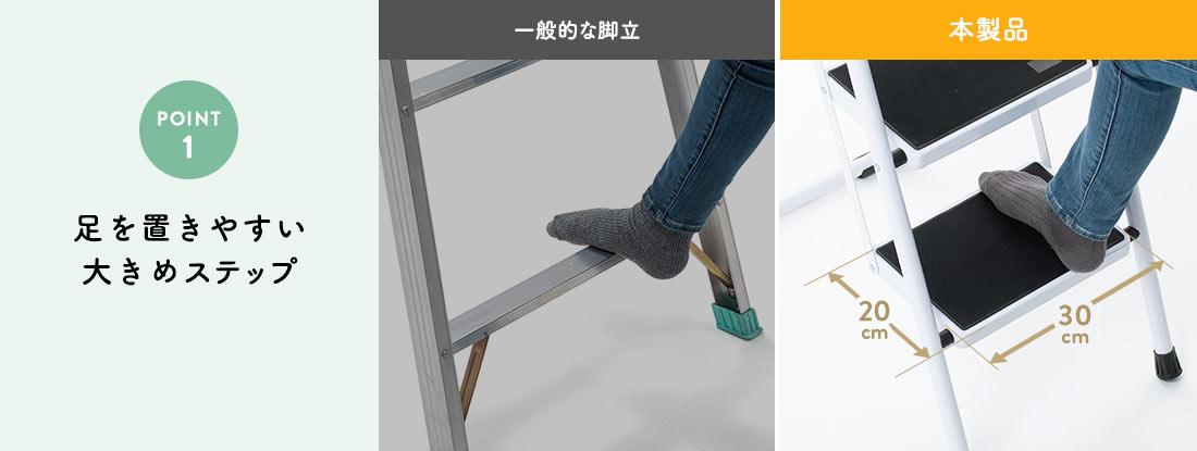 POINT1。足を置きやすい大きめステップ