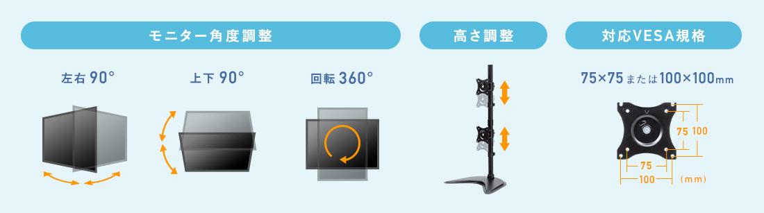 モニター角度調整 高さ調整 対応VESA規格