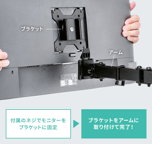 付属のネジでモニターをブラケットに固定 ブラケットをアームに取り付けて完了