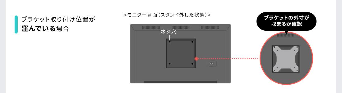 ブラケット取り付け位置が「窪んでいる」場合、ブラケットの外寸が収まるか確認。