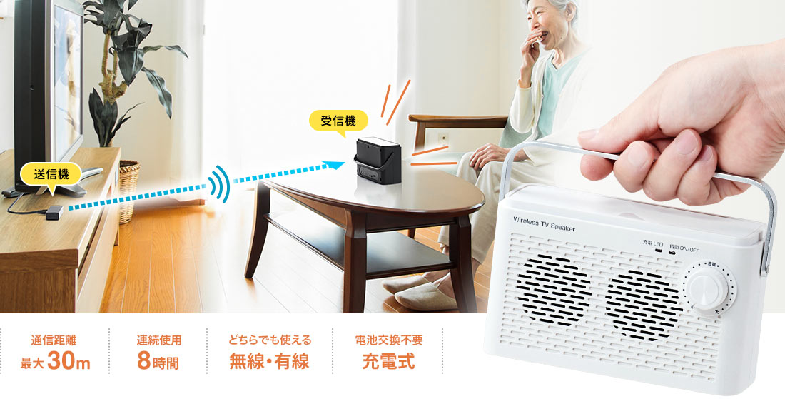 通信距離最大30m 連続使用8時間 どちらも使える無線・有線 電池交換不要充電式
