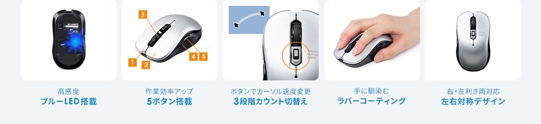 ブルーLED搭載 5ボタン搭載 3段階カウント切換え ラバーコーティング 左右対称デザイン
