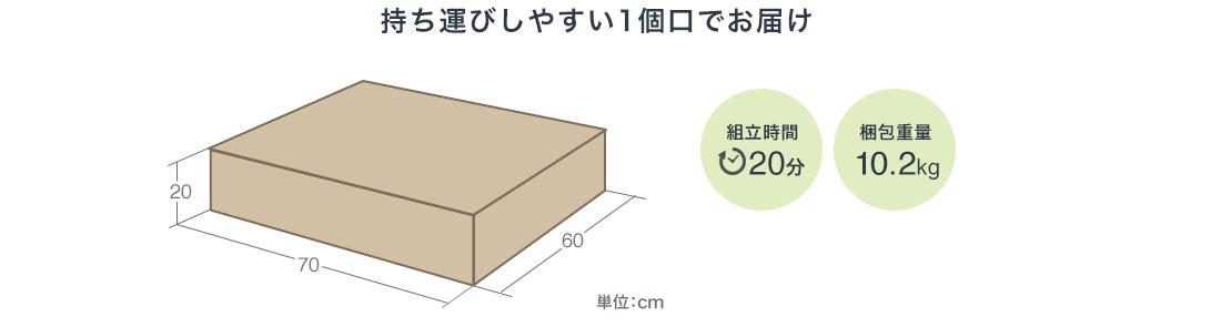 持ち運びしやすい1個口でお届け 組立時間20分 梱包重量10.2kg