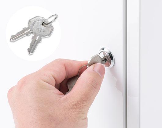 鍵付きで扉をしっかりロック