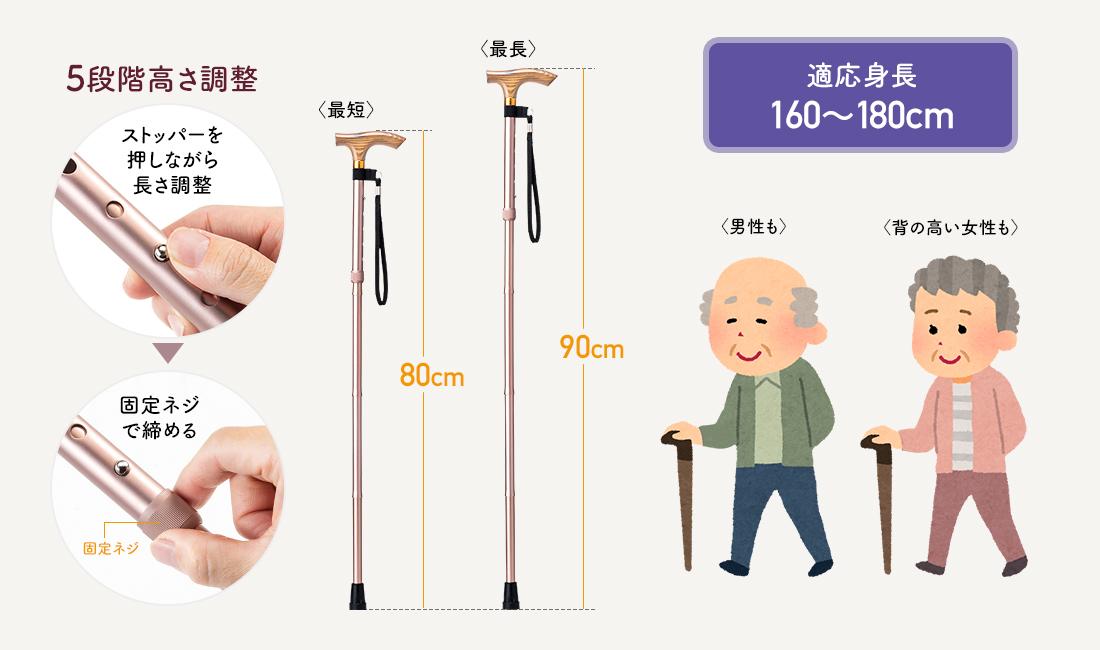 5段階高さ調整。ストッパーを押しながら長さ調整し、固定ネジで絞める。
