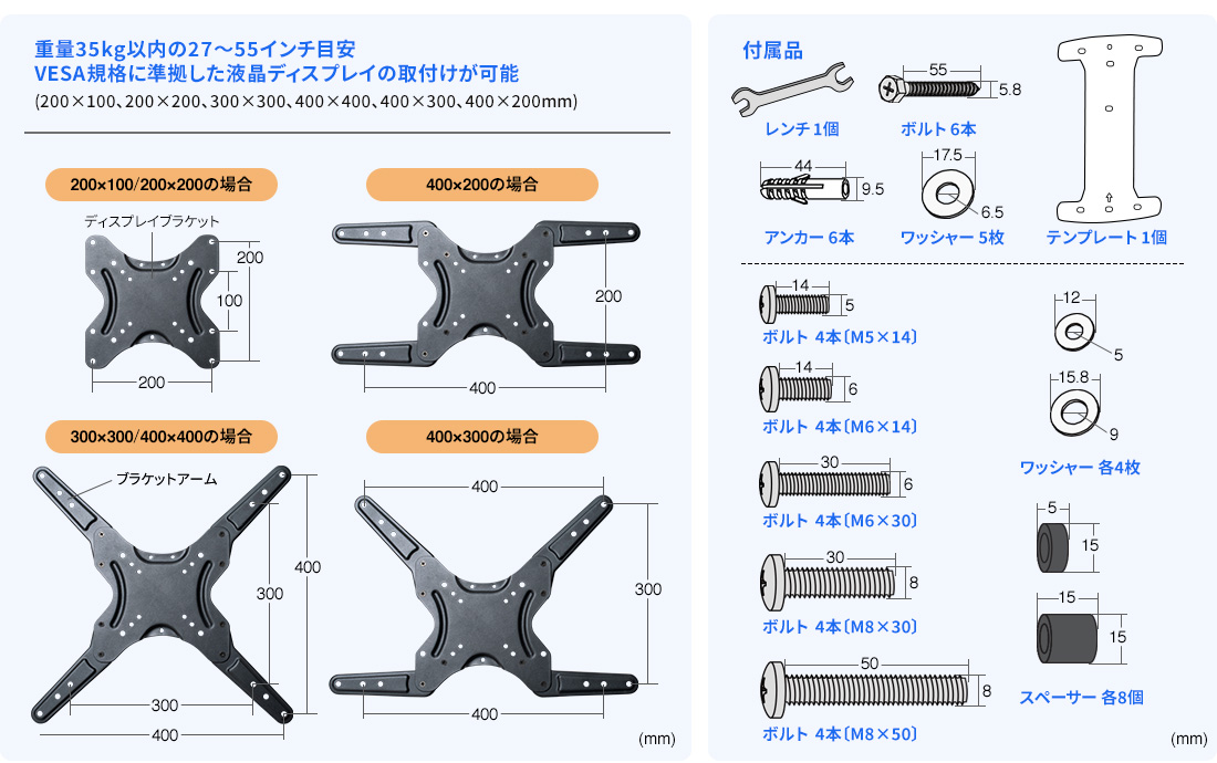 重量40kg以内の23~55型目安 付属品
