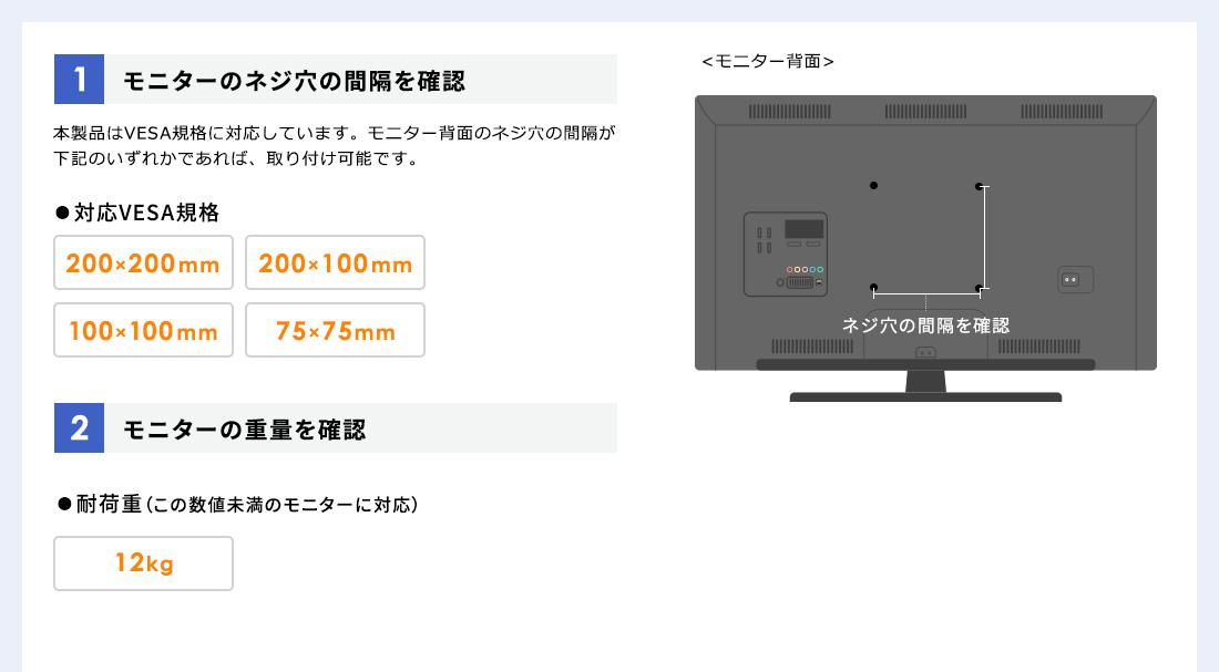 1、モニターのネジ穴の間隔を確認。2、モニターの重量を確認
