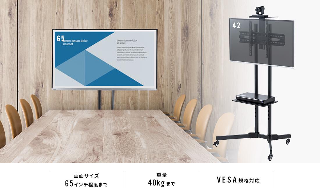 画面サイズ65インチ程度まで 重量40kgまで VESA規格対応