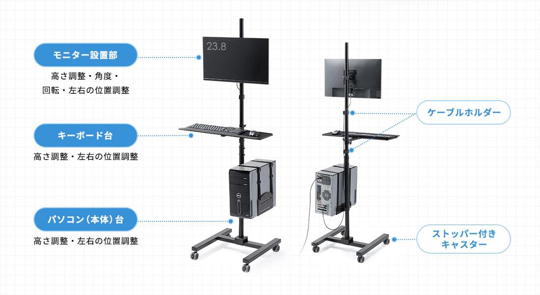 モニター設置部、キーボード台、パソコン(本体)台、ケーブルフック、ストッパー付きキャスター