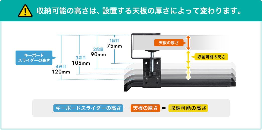 収納可能の高さは、設置する天板の厚さによって変わります。