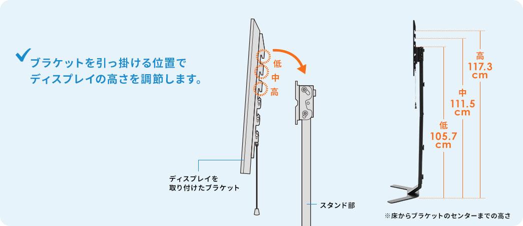 ブラケットを引っ掛ける位置でディスプレイの高さを調整します。