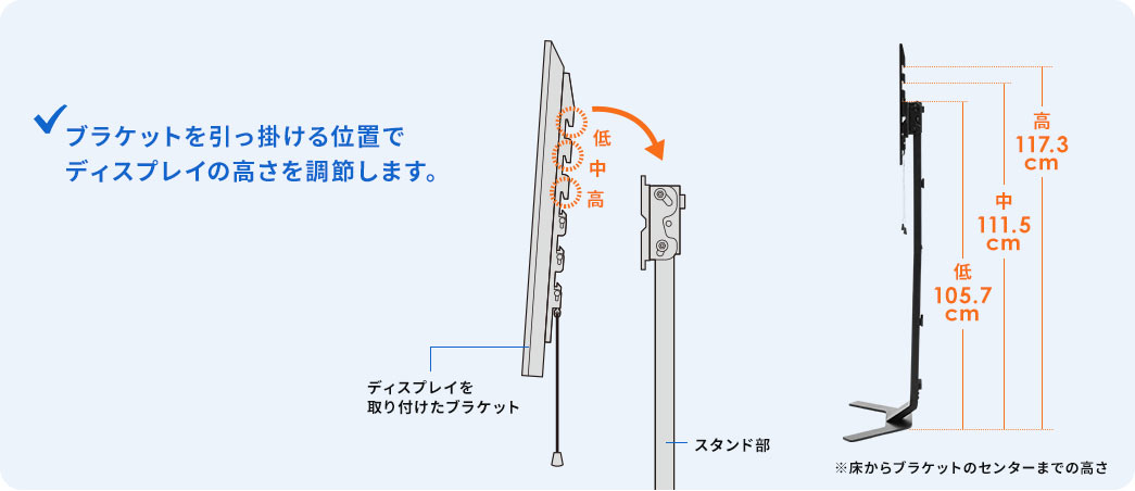 ブラケットを引っ掛ける位置でディスプレイの高さを調節します。