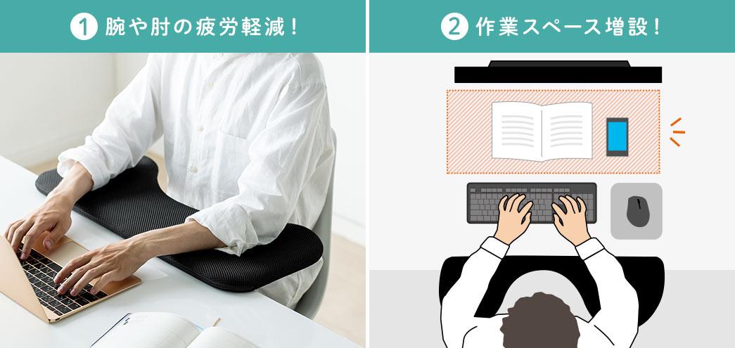腕や肘の疲労軽減! 作業スペース増設!
