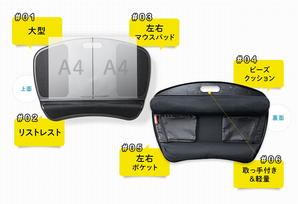 大型 リストレスト 左右マウスパッド ビーズクッション 左右ポケット 取っ手付き&軽量