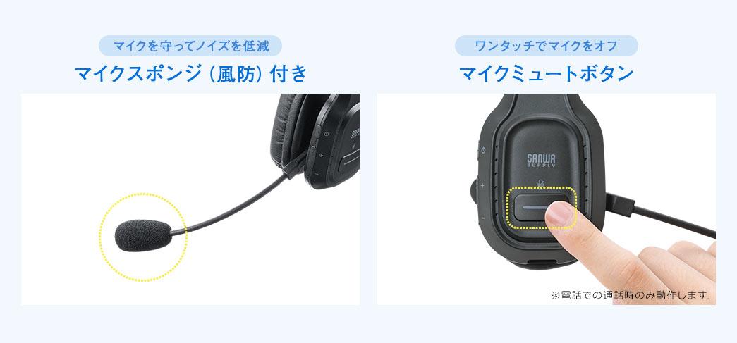 マイクスポンジ(風防)付き マイクミュートボタン