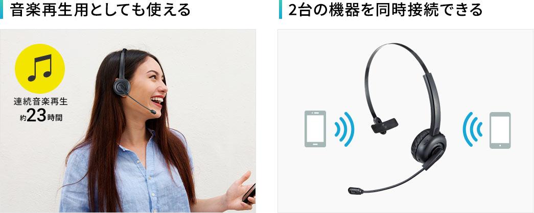 音楽再生用としても使える 2台の機器を同時接続できる