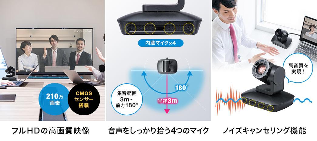 フルHDの高画質映像 音声をしっかり拾う4つのマイク ノイズキャンセリング機能