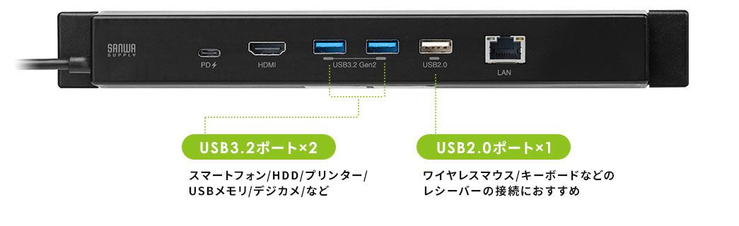 USB3.2ポート×2 USB2.0ポート×1