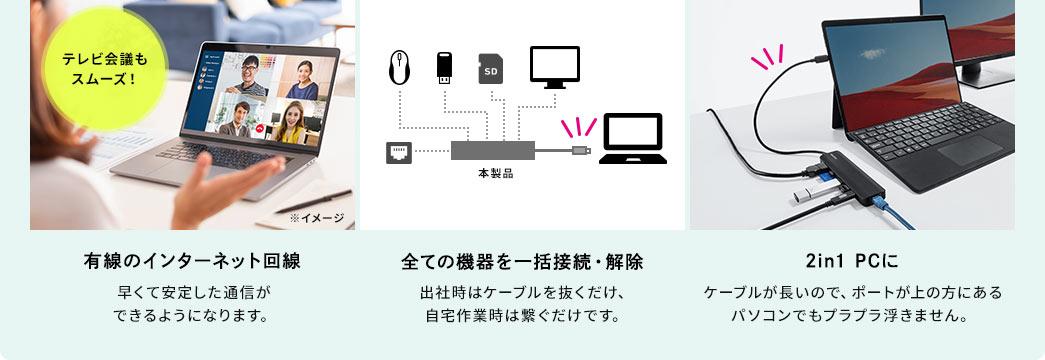 有線のインターネット回線 全ての機器を一括接続・解除 2in1 PCに