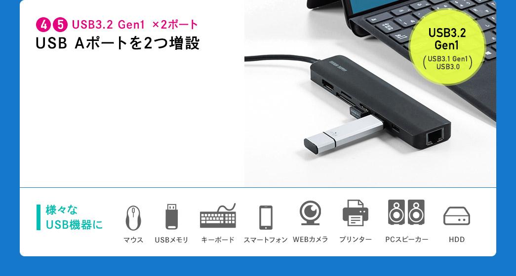 USB3.2 Gen1×2ポート USB Aポートを2つ増設 様々なUSB機器に