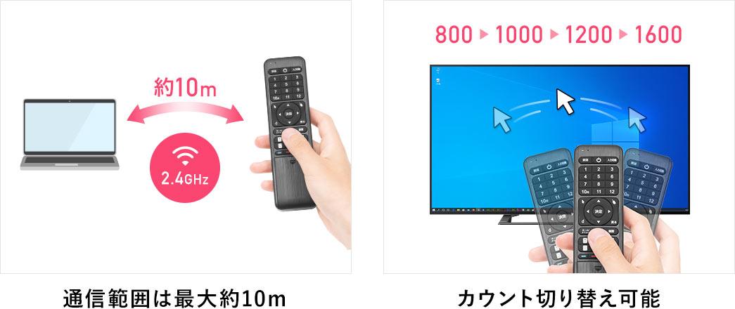 通信範囲は最大約10m・カウント切替可能