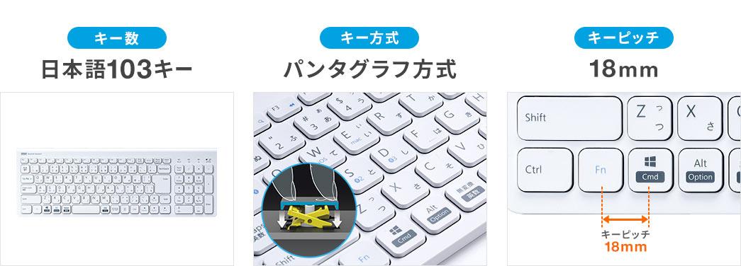 日本語103キー パンタグラフ方式 キーピッチ18mm