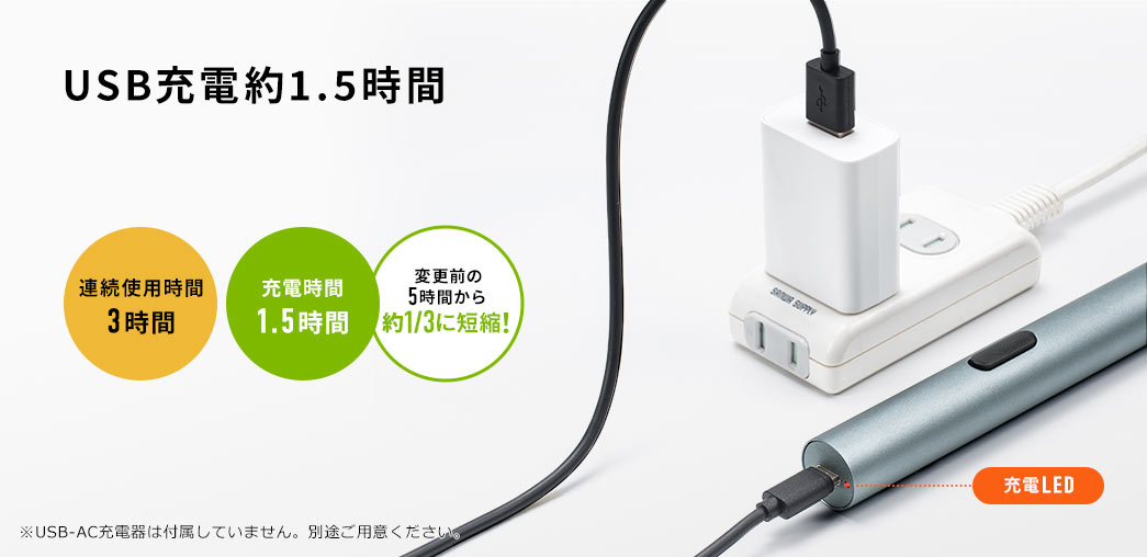 USB充電約1.5時間
