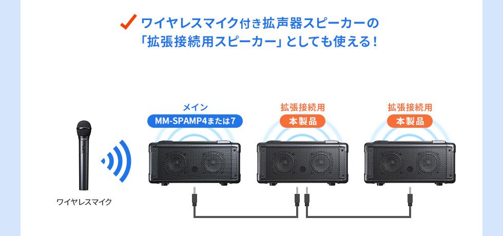 ワイヤレスマイク付き拡声器スピーカーの「拡張接続用スピーカー」としても使える!