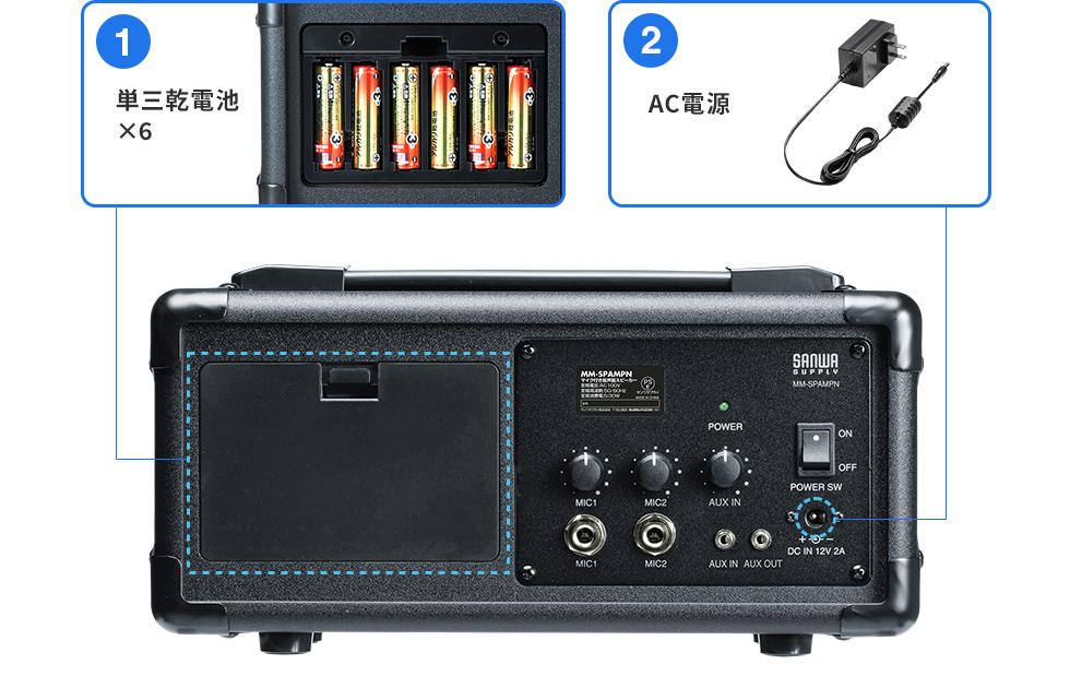 ①単三乾電池×6 ②AC電源