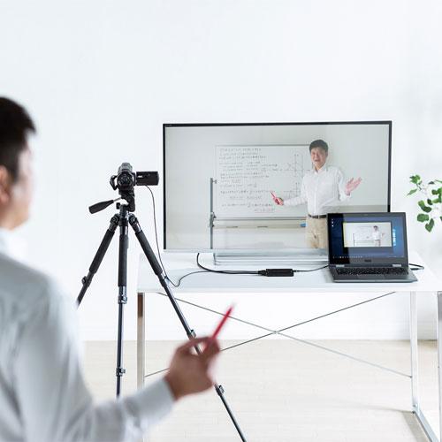 ビデオカメラの映りを大画面で確認できる