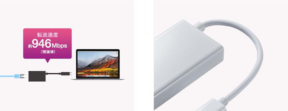 動画データなどを高速転送 持ち運びやすい長さ9cmのケーブル