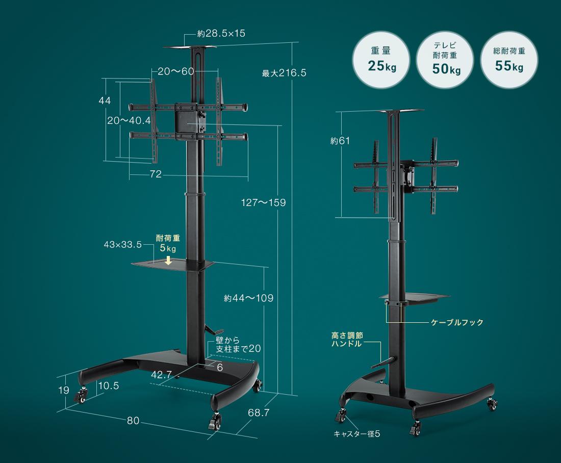 重量25kg、テレビ耐荷重50kg、総耐荷重55kg