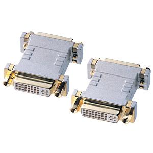 2本のDVIケーブルを中継するためのDVIメス-メスアダプタ。