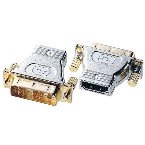 HDMIケーブルを変換しDVIコネクタに接続するための変換アダプタ。